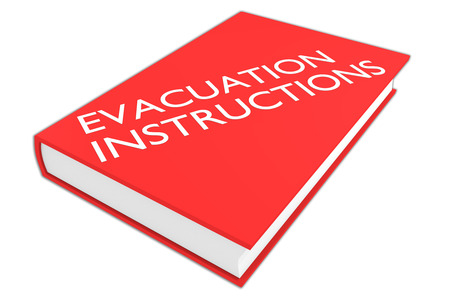 going away: 3D illustration of EVACUATION INSTRUCTIONS script on a book, isolated on white. Emergency concept.