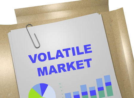 volatile: 3D illustration of VOLATILE MARKET title on business document. Business concept.