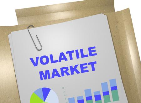 volatile: 3D illustration of VOLATILE MARKET title on business document. Business concept.