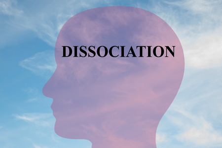 dissociation: Render illustration of DISSOCIATION script on head silhouette, with cloudy sky as a background. Stock Photo