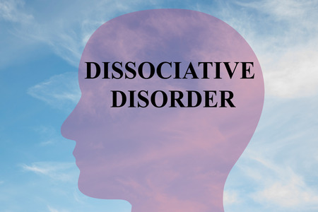 illness: Render illustration of DISSOCIATIVE DISORDER script on head silhouette, with cloudy sky as a background.