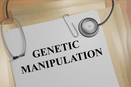 manipulation: 3D illustration of GENETIC MANIPULATION title on medical documents. Medical concept.