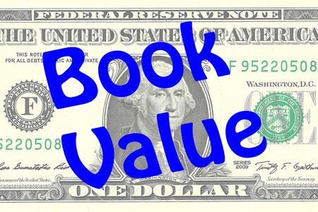 one dollar bill: Render illustration of Book Value title on One Dollar bill as a background. Business concept