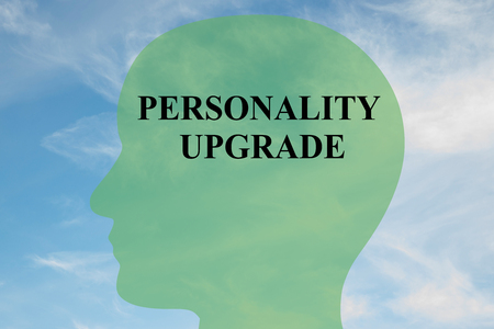 revitalize: Render illustration of PERSONALITY UPGRADE script on head silhouette, with cloudy sky as a background.