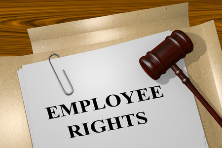 enforcing: 3D illustration of EMPLOYEE RIGHTS title on Legal Documents- concept
