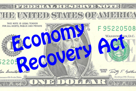 one dollar bill: Render illustration of Economy Recovery Act title on One Dollar bill as a background. Business concept Stock Photo
