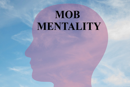 Render illustration of MOB MENTALITY script on head silhouette, with cloudy sky as a background.