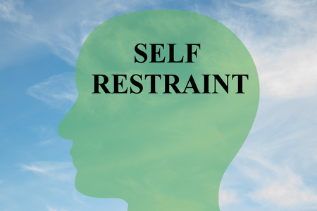 self development: Render illustration of SELF RESTRAINT script on head silhouette, with cloudy sky as a background. Human mental concept. Stock Photo