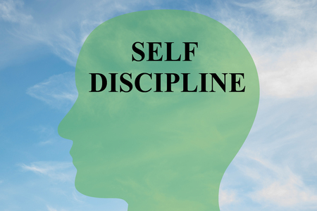 discipline: Render illustration of SELF DISCIPLINE script on head silhouette, with cloudy sky as a background. Human personality concept.