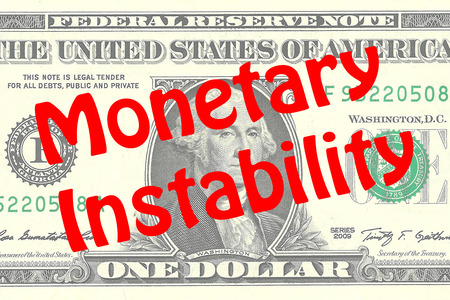 one dollar bill: Render illustration of Monetary Instability title on One Dollar bill as a background. Business concept