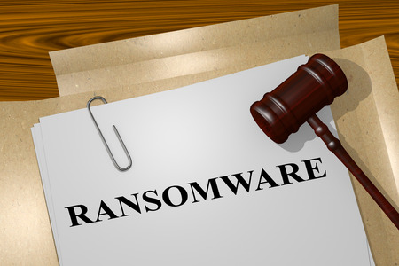 malicious software: 3D illustration of RANSOMWARE title on Legal Documents. Legal concept. Stock Photo