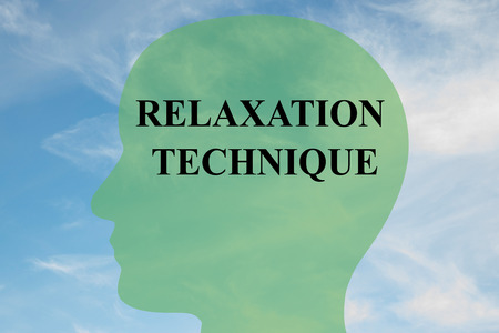 coping: Render illustration of RELAXATION TECHNIQUE script on head silhouette, with cloudy sky as a background. Human mental concept.