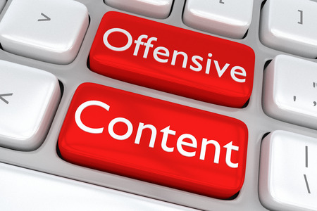 nudity: 3D illustration of computer keyboard with the print Offensive Content on two adjacent red buttons. Content concept. Stock Photo
