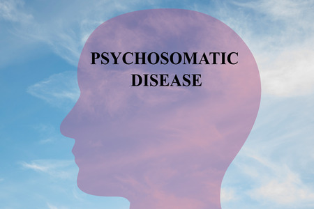 oppression: Render illustration of PSYCHOSOMATIC DISEASE script on head silhouette, with cloudy sky as a background. Human mental concept.