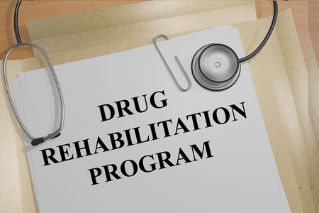 approach: 3D illustration of DRUG REHABILITATION PROGRAM title on medical documents. Medical concept.