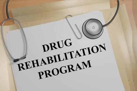 rehabilitation: 3D illustration of DRUG REHABILITATION PROGRAM title on medical documents. Medical concept.