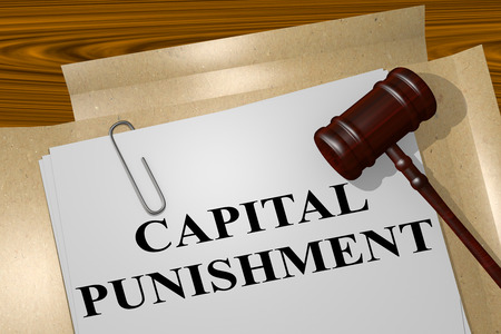 cruelty: 3D illustration of CAPITAL PUNISHMENT title on Legal Documents