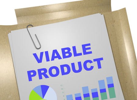 viable: 3D illustration of VIABLE PRODUCT title on business document