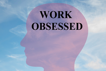 ocd: Render illustration of WORK OBSESSED script on head silhouette, with cloudy sky as a background. Stock Photo