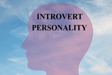 personality: Render illustration of INTROVERT PERSONALITY script on head silhouette, with cloudy sky as a background.