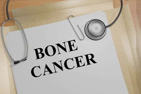 radiotherapy: 3D illustration of BONE CANCER title on medical documents. Medical concept. Stock Photo