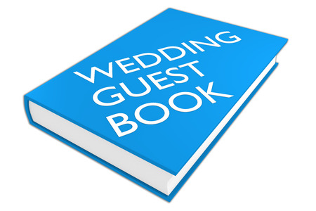wedding reception decoration: 3D illustration of WEDDING GUEST BOOK script on a book, isolated on white.