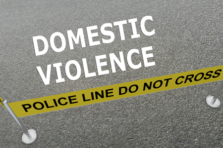 domestic violence: 3D illustration of DOMESTIC VIOLENCE title on the ground in a police arena