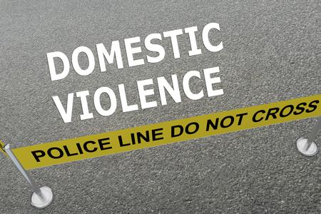 """maltrato: Ilustración 3D del título de """"violencia doméstica"""" en el suelo en una arena de la policía"""