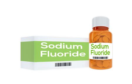 hydride: 3D illustration of Sodium Fluoride  title on pill bottle, isolated on white. Stock Photo