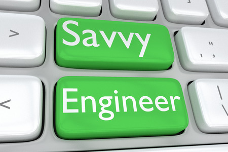 3D illustration of computer keyboard with the print Savvy Engineer on two adjacent green buttons Stock Photo