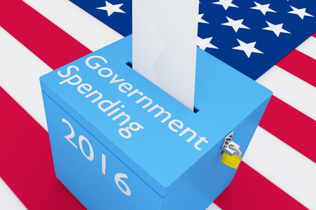 local elections: 3D illustration of Government Spending, 2016 scripts and on ballot box, with US flag as a background.