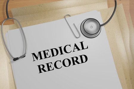 3D illustration of MEDICAL RECORD title on a document Stock Photo
