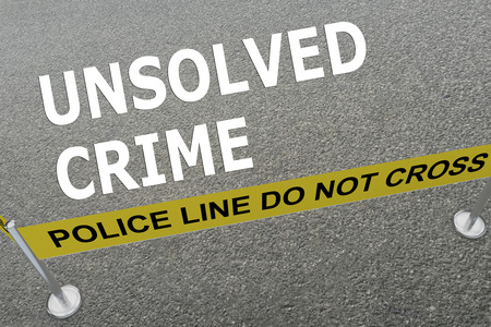 3D illustration of UNSOLVED CRIME title on the ground in a police arena