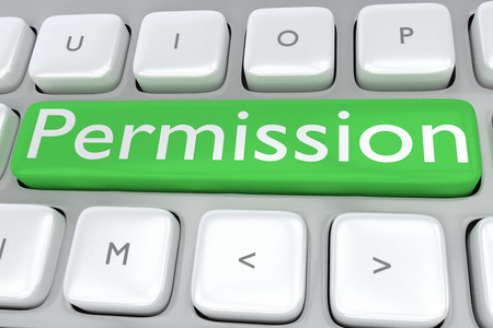 permission: 3D illustration of computer keyboard with the print Permission on a green button Stock Photo
