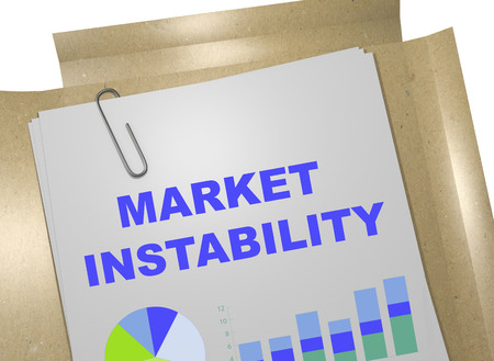 global rates: 3D illustration of MARKET INSTABILITY title on business document Stock Photo