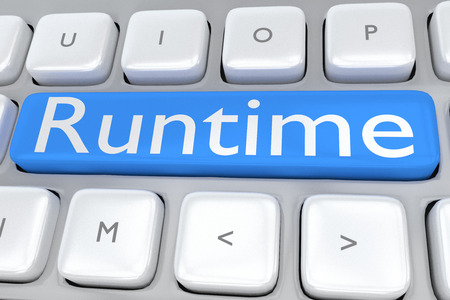 middleware: 3D illustration of computer keyboard with the script Runtime on pale blue button, allong with a lock. Computer concept. Stock Photo