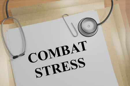 grieving: 3D illustration of COMBAT STRESS title on medical document