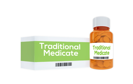 medicate: 3D illustration of Traditional Medicate title on pill bottle, isolated on white. Stock Photo