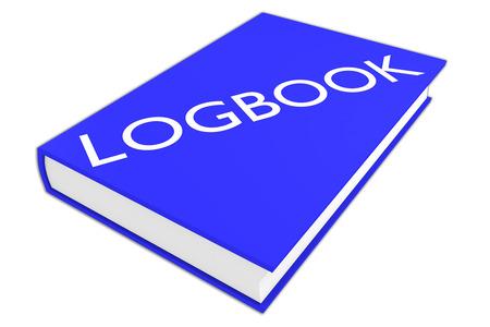 """3D-Darstellung von """"LOGBUCH"""" Skript auf einem Buch, isoliert auf weiß. Administrative Konzept."""