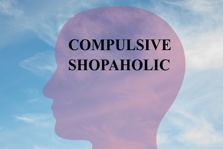 adolescence: Render illustration of COMPULSIVE SHOPAHOLIC  script on head silhouette, with cloudy sky as a background. Stock Photo