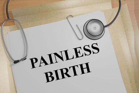 医療文書の「誕生」無痛「タイトルの 3 d イラストレーション 写真素材