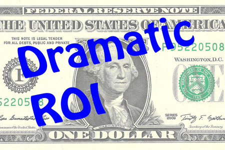 one dollar bill: Render illustration of Dramatic ROI title on One Dollar bill as a background. Business concept Stock Photo