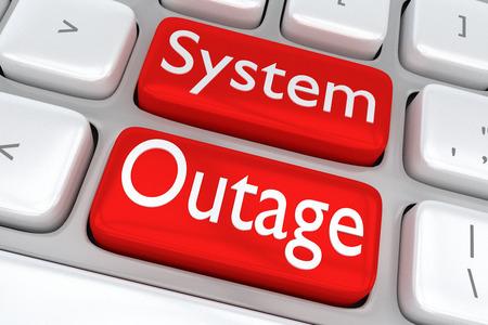 """두 개의 인접한 빨간색 단추에 """"시스템 작동 중지""""인쇄와 컴퓨터 키보드의 3D 일러스트"""