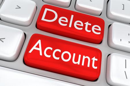 """Ilustración 3D de teclado de ordenador con la letra """"Eliminar cuenta"""" en dos botones rojos adyacentes"""