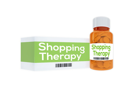 retail therapy: 3D illustration of Shopping Therapy title on pill bottle, isolated on white.