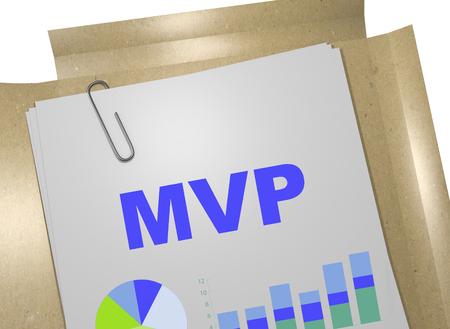 mvp: 3D illustration of MVP title on business document (minimum viable product)
