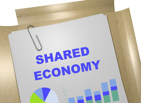 shared: 3D illustration of SHARED ECONOMY title on business document Stock Photo
