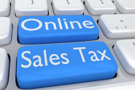 2 つの隣接する淡い青色のボタン上のスクリプト「オンライン売上税」にコンピューターのキーボードの 3 D イラストレーション 写真素材 - 60254912