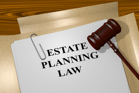 3D illustration of ESTATE PLANNING LAW title on Legal Documents Stock Photo