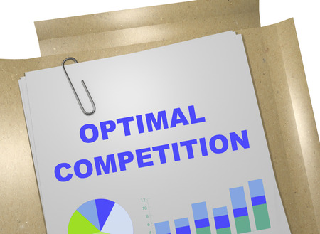 optimal: 3D illustration of OPTIMAL COMPETITION title on business document